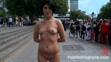 Dogging. European hottie gets jizzed on then paraded in public with ejaculate on her face and tits