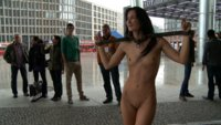 Smoking hot European babe gets throat and ass fucked in public