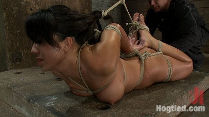 Lascivious hawaiian brutally hogtied suffering orgasm after orgasm until she is lying in her own squirt. Excited Hawaiian is brutally hogtied,  elbows bound together, hair tied to feet, suffering orgasm after orgasm until she is lying in her own squirt.