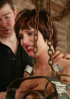 Hogtied's favorite Kat is the first to try the Electric Chair.