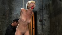Cute innocent girl next door does first hardcore bondage shoot.  Elbows bound tightly, gagged and made to cum, then suspended from elbows and pussy!