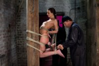 Katie Jordin is simply made to suffer.  The bondage slowly develops into a category 5 position: a back breaking predicament she cannot win.