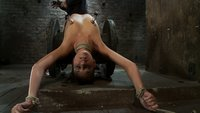Sexy girl next door, is spread out & abused.  Nipple torture, pussy torture, and made to cum over and over.  Worked over by two riggers, so helpless.