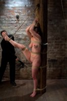 This incredibly sexy girl next door suffers and cums over and over in her first hardcore BDSM experience.  Nipple punishment and foot caning.