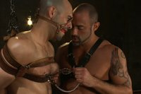 Adam Russo gets tied up for the first time and worships CJ Madison's massive cock.