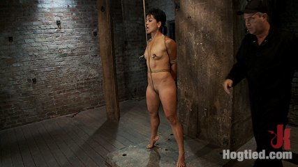 Asian milf with huge nipples is made to cumshot hardbrpulled to her tip toes with a brutal crotch rope. Hot Asian MILF with huge nipples is made to cum hard, elbows bound, nipples clamped & weighted, pulled to her tip toes with a inhuman crotch rope,