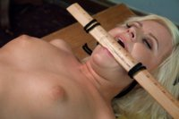 Hot blond finds her shop teacher's kinky sex machine stash, masturbates with mechanical tongues and pounding dicks until she squirts on his desk.