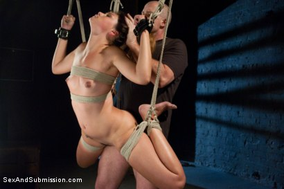 Defiant girl punished and fucked in tough inescapable bondage.