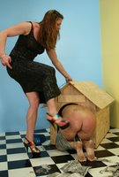 Kym  punishes KatDog for pee and newspapers in her kitchen