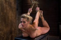 Holly suffers the most horrific, painful bondage suspension there is.  A category 5 hogtied with hair to ass hook!  This is why you come to Hogtied!