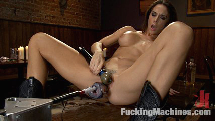 The starlet of the year fucks machines in a cowboy bar. Hot Starlet Chanel Preston is a horny 5ft 8in babe with a cock swallowing pussy. She fucks the machines deep, heavy and fast in her debut machine shag.