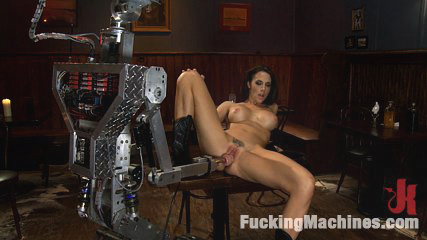 Long legs strandling robot penish in a cowboy bar. Chanel Preston's perfect vagina vs. Fuckzilla's robot dick in an orgasmic dual. She thrusts, grinds and cums on the robot and her custom dick saddle.