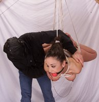 Complicated suspension bondage with Jewell.