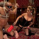 Sadistic girl Felony uses two slaves in chastity for her pleasure, fucking one's butt hole with her fist!