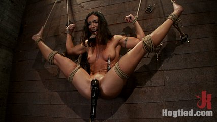 Gymnast fitness model has her flexibility put to the test brmade to cumshot until she is a sweaty pig. Former gymnast, fitness model has her flexibility put to the test.  brutal foot caning, nipple torture, and powerful, intense orgasms rule the day.