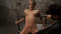 Tiny Southern Belle is pushed to her limits,  back arched, nipples clamped, knees on the hard floor, made to cum hard!  Cruelest crotch rope ever.