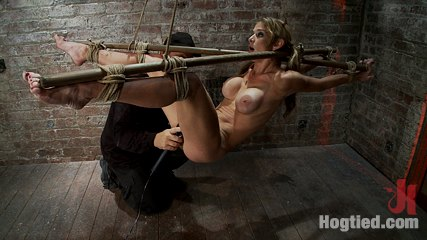 Hot milf suffers the most painful bondagebrcategory 5 suspension made to squirt all over the place. Hot MILF with huge tits is painfully bound, made to cum! Soon she is suspended & then made to squirt like a fountain. Category 5 bondage & Suspension