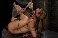 MILF with huge tits is bound in traditional Japanese torture tie, category 5 suspended from her neck and ankles and brutally fucked in her ass.