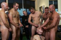 Dylan Deap gets his head shaved and a hard bondage fuck in a busy barbershop.