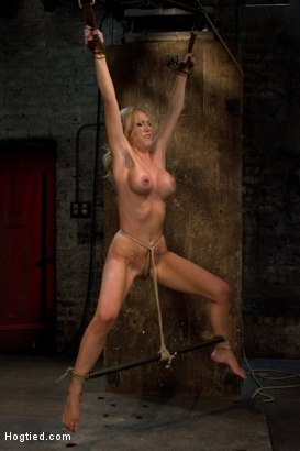Hot blond MILF suffers multiple torments.  Tickling, flogging, caning.  We make her cum over & over, tie a crotch rope & suspend her from her wrists!