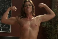 Ariel X flexes her 300 abs, tenses her muscly, sexy body and has her way with HUGE cock on the fuckingmachines in her ass and pussy until she squirts
