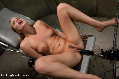 The perfect Monday nooner - a hot blond all American girl machine fucking until she cums messy, squirting orgasms.