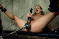 She used to cheer, now she does the splits in chains with a machine driving her pussy while she explodes with squirting, cumming, head to toe orgasms.