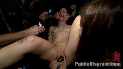 Total awesomeness. Hot girl gets tied up and exposed at a bar where patrons cover her in beer and spit before watching her get fuck hard!