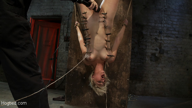 Super cute blond, is hung upside down and tormented, cloths pins up & down her body are ripped off, made to cum over and over...
