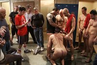Ex-Military stud gets humiliated and fucked in the crowded locker room