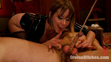 A tiny holiday live. Maitresse gives one of her world famous teasing handjobs edging slave over and over again until he blows his load without her even touching his cock!
