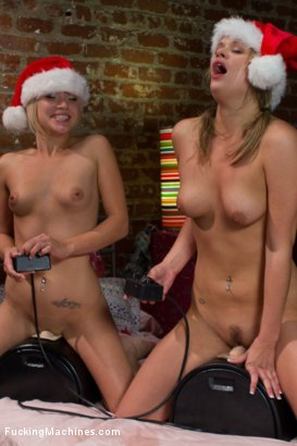 All Sybian Holiday bonus - a mighty vibe, 5 hot babes, orgasms and squirting to ring in your New Year. Happy Holidays members of FuckingMachines.com!