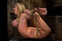 "Hogtied MILF with HUGE ""EE"" breast suffers brutal breast bondage incorporated to a back breaking suspension.  Made to cum so hard & often she cries."
