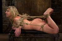 """Hogtied MILF with HUGE """"EE"""" breast suffers brutal breast bondage incorporated to a back breaking suspension.  Made to cum so hard & often she cries."""