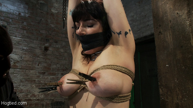 Welcome Annika back to Hogtied, it is not often that we get an actual member with huge tits on the site, so when we do it's pretty freaking awesome.