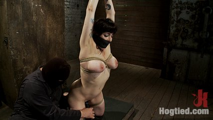 Actual member of the site applies to model  is accepted brthis big titted milf is bound  abused. Welcome Annika back to Hogtied, it is not often that we get an actual member with huge tits on the site, so when we do it's good freaking awesome.