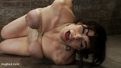 Hot-busty-lifestyle-MILF-is-severely-bound-with-only-baling-twine-Bondage-hurts-this-is-brutal