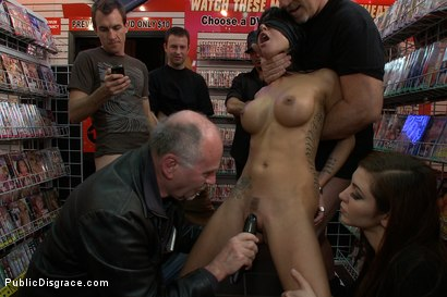 Gia DiMarco gets ass fucked and jizzed on by strangers in a porn store