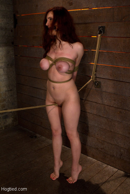 "19 yr old with massive ""F"" natural breasts walks the crotch line from hell. Elbows & boobs tied up, rope burning through her pussy. Made to CUM HARD!"