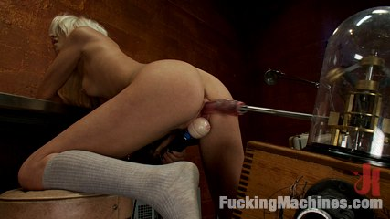 18yr old fresh new girl spreads for the machines in the science lab. Brand New blond, perky tit, 18yr old college girl is in ejaculate drunk heaven from pounding machines and vibrators that fucked her to complete bliss.