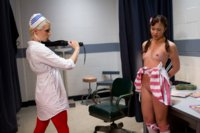 18 yo candy striper is introduced to kinky lesbian BDSM by sadistic nurse with spanking, gyno instruments and anal speculum!