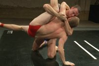 Huge-dicked muscle god takes on sexy stud in a brutal match ending in a fiery victory fuck for the winner and total humiliation for the loser.