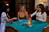 Sexy MILF boss is punished and fucked by two lesbian employees at a strip poker game!
