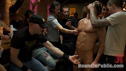 Blond muscle stud br blindfolded flogged humiliated and have intercourse in. Perfect bodied blond hunk is humiliated in a bar full of strangers as they flog him, make him dick sucking dick and fuck him until he can't take any more.