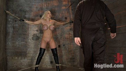 California blond has her hard boobs severly boundbrwe rip orgasm after orgasm out of her hot bod. Blond Bombshell with massive boobs is bound, spread, and made to suffer brutal tit bondage and massive orgasms! She has no hope for escape or mercy.