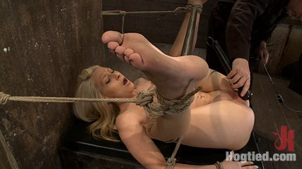 California blond with huge boobs has them bound to her knees  spreadbrmade to squirt  scream. California blond with huge tits is bound in the ultimate humiliating position.  pussy and anus exposed, made to ejaculate and squirt like a common whore.