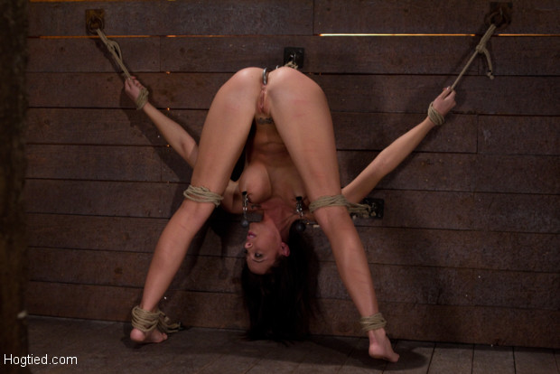 Cute girl next door is bound with ass and pussy exposed for brutal abuse and pleasure. Ass hooked, caned and made to cum so much she begs for mercy!