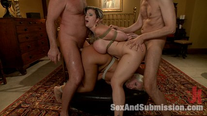 Wife swap. Wife lured into swinging with kinky couple, double vaginal penetration.