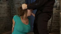 How to manhandle a slut 101:  Big tits, tan, sexy face, no gag reflex.  This is how you fuck up a bitch.  Trina is bound, throat fucked, made to cum.