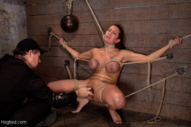 Hot big titted Florida girl, gets her huge tits bound, her face distorted, pussy flogged, and her neck stretched and weighted, brutally face fucked!